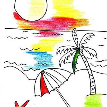 Beach set of 5 Printable beginner easy tropical sea hawii coloring page sheet digital download kid children adult coloring page relaxation