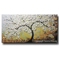 ORIGINAL Art Abstract Painting Blossoming Cherry Tree Textured White Flowers Wall Art Blue Brown