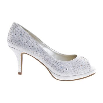 Frank Silver By City Classified, Peep Toe Glitter Rhinestone Stud High Heel Pump w Comfortable Insole