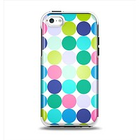 The Vibrant Colored Polka Dot V2 Apple iPhone 5c Otterbox Symmetry Case Skin Set