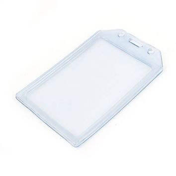 PVC Vertical Name Tag ID Work Exhibition Badge Card Holder Clear Blue
