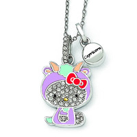 Sterling Silver Hello Kitty Crystal/Gold-tone/Enamel Capricorn Necklace QHK141