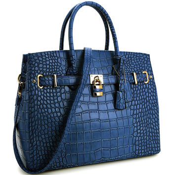 "Blue Faux Alligator Crocodile Padlock iPad, Tablet or MacBook or MacBook Air 11"" - 13"" Handbag"
