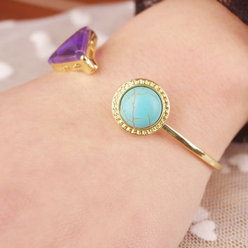 Shiny Stylish New Arrival Jewelry Accessory Simple Design Gemstone Bangle [4918893124]