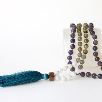 Dreamy Midnight Skies Mala -- 108 Handknotted Gemstone Mala with Rainbow Moonstones, Labradorite, Iolite, with Silk Tassel