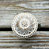 Decorative Knobs Rustic Drawer Pulls Farmhouse Knobs White & Gold Knobs Cabinet Knobs Floral Dresser Knobs Sunflower Dresser Hardware