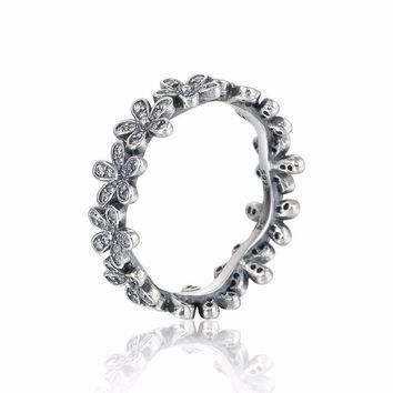 C555 Silver Daisy Ring with Clear Cz Compatible with Pandora Jewelry Size #50-58 New 1