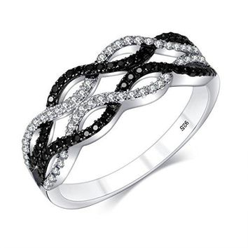 MampD Jewelry Criss Cross Ring Infinity Ring BlackampWhite Braided Twisted Paved Promise Ring Sterling Silver