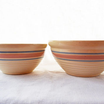 Old Pottery Bowl, Yellow Ware Banded Bowls,   Vintage Kitchen Mixing Bowls, 1930's Primitive Pottery