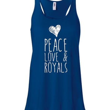 Peace Love And Royals Kansas City Baseball Fans Inspired Ladies Racer Back Tank Top Bella Tank Top KC Royals
