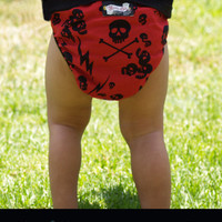 Punk Rockabilly Baby Diaper Cover Thunder Skulls Red - baby shower gift