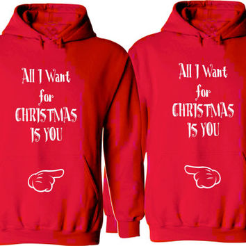 All I Want for Christmas Is You. Couple Hoodies. Unisex Size Hoodies. Cozy. Warm. Couple Christmas Outfits. Price for 2. Gifts for her him