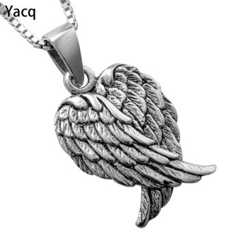 Yacq 925 Sterling Silver Angel Wings Necklace Pendant W Chain Jewelry Birthday Gifts Women Wife Girlfriend Her Girls Biker CN03