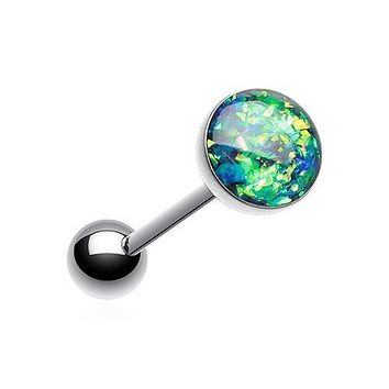 Opal Sparkle Barbell Tongue Ring 316L Surgical Steel