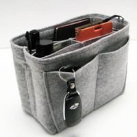 N6. Light Grey felt bag organizer - mini size (W 8in H 6in D 4in ), also for a school / baby bag, desk, car & etc.