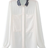White Printed Long Sleeve Band Collar Blouse