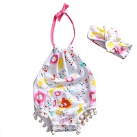 Summer Newborn Baby Girl Floral Tassel Romper Halter Jumpsuit +Headband Outfits Summer Sun-suit Clothes Play suit 0-18M