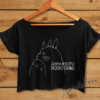 Studio Ghibli shirt Totoro anime women crop top crop tee black white tshirt STU01JG