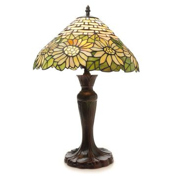 Tiffany Style Sunflower Inspired Stained Glass Table Lamp