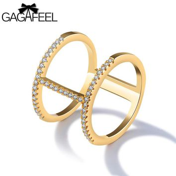 GAGAFEEL Double Rings For Women Index Finger Knuckle Ring CZ Zirconia Crystal Opening Wide Gold Color Copper Ring Fine Jewelry