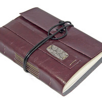 Burgundy Vegan Faux Leather Journal with Bookmark