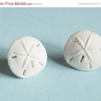 On Sale Sand Dollar Earrings White 10% of this sale will go to Sea Shepherd Conservation Society