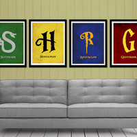 Harry Potter - Hogwarts Houses Series minimalist prints - Hufflepuff, Ravenclaw, Griffindor, Syltherin