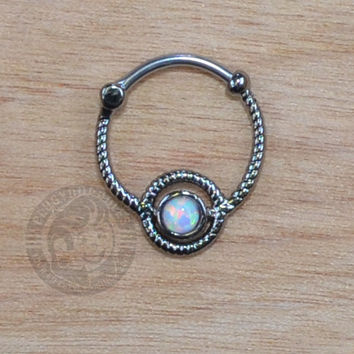 Hematite Roped Steel w/ Opalite Gem Septum Clicker