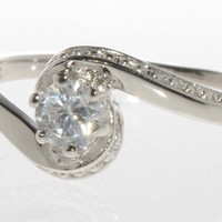 Sterling Silver Womens Cubic Zirconia Ring Round Clear CZ 4mm Stone