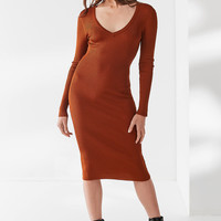 UO Naomi Ribbed Knit V-Neck Midi Dress | Urban Outfitters