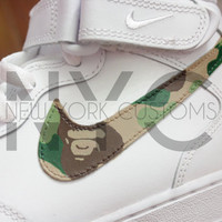 Bape Green Camo Nike Air Force 1 Mid Top Men & Kids