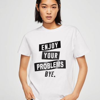 Printed text t-shirt - Women | MANGO USA