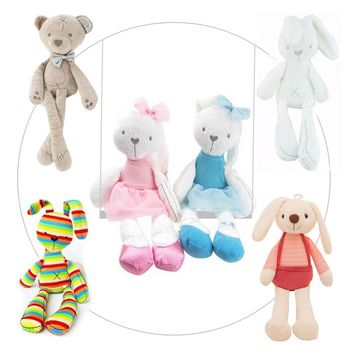 Lovely Bunny Plush Stuffed Toys Soft Beige/Pink/ Rainbow Rabbit Stuffed Animals Dolls For Kids Baby Cot Bedding Appease Gift