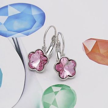 Rhodium Plated Women Flower Leverback Earring, with Light Rose Swarovski Crystals, by Folks Jewelry