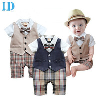 IDGIRL Baby Boy Romper Waistcoat Plaid Clothes Infant Gentleman Rompers Summer Toddler Vest Jumpsuit Newborn Clothing JY0225