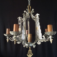 Antique Vintage Art Deco Skyscraper Chandelier 6 Light Late 1920s Original