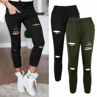 Womens Trousers Pants Faded Ripped Skinny Slim Fit Jeggings Stretch Leggings
