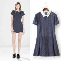 Blue Dotted Pattern Short-Sleeve Collared Dress