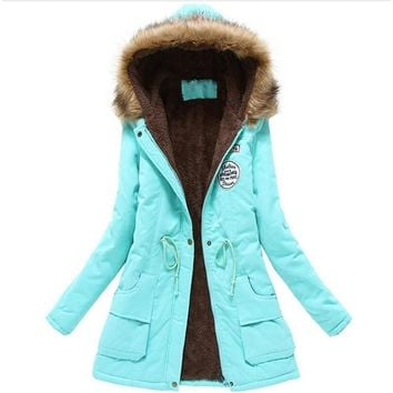 winter jacket women wadded jacket female outerwear slim winter hooded coat long cotton padded fur collar parkas plus size 3L68