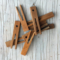 Traditional vintage pegs. Handmade flat vintage clothes pegs. This listing is for 9 pegs.