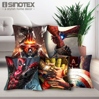 "17"" Superhero Deadpool Spiderman Captain America Awesome Pillow Case"