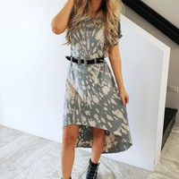 Edgy Gal Dress: Grey/Nude