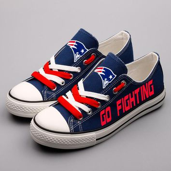 New England Fans Printed Canvas Shoes Color Lace-up Women Casual Flats  Custom Patriotic Letter af2d0cf26181
