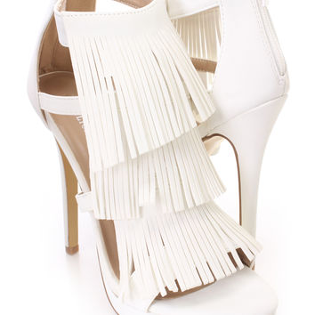 White Fringe Strappy Sandal Heels Nubuck Faux Leather