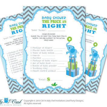 Boy Elephant Price is Right Game Printable Card for Baby Elephant  Shower DIY Blue gray Chevron - ONLY digital file - oz01bs12