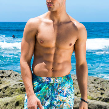 Sauvage Capri Mid Length Beach Trunk - Jungle