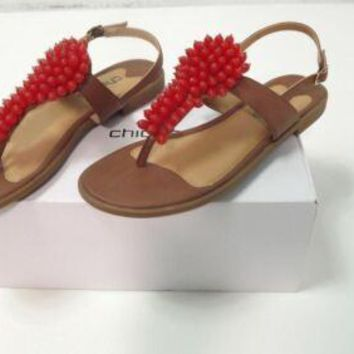 Chicos Brown Tan W/ Large ORANGE Bead Cluster Shoes Sandals Size 8.5 M RT. $99