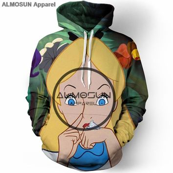 ALMOSUN Alice in Forest 3D All Over Printed Hoodies Pockets Sweatshirt Hipster Casual Street Wear Hip Hop Men Women US Size