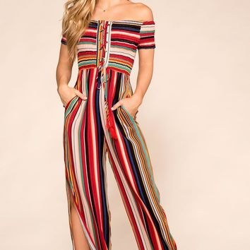 Take A Chance Striped Jumpsuit