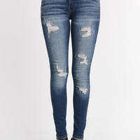 High Waisted Distressed Skinny Jeans